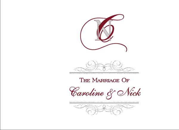 Brambles Wedding Stationery Booklet Pages Title Page