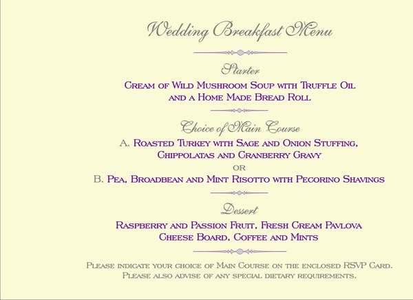 Click HERE For RSVP Cards Showing Menu Choices