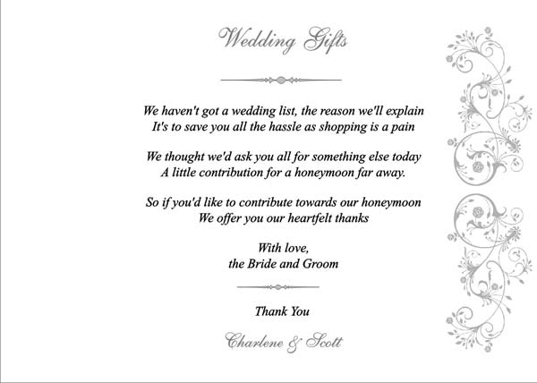 Wedding Gift Poems For Honeymoon Vouchers : Wedding Gifts Page