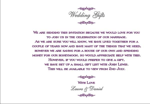 Wedding Gift List Wording Poems : Brambles Wedding Stationery - Booklet-Pages