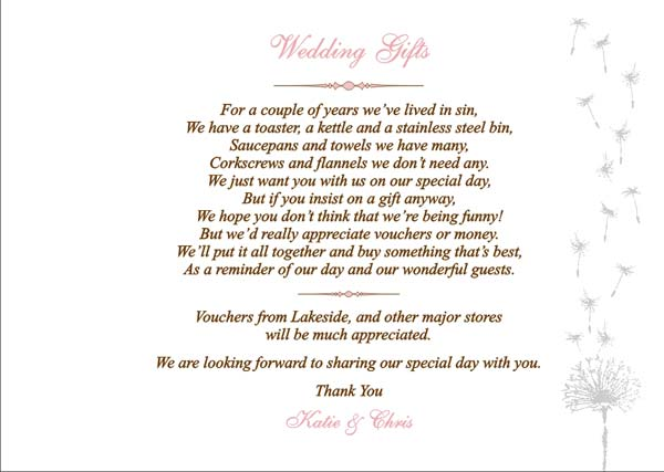 Wedding Gift List Wording Poems : ... , your pages will be created to match your wedding invitation design