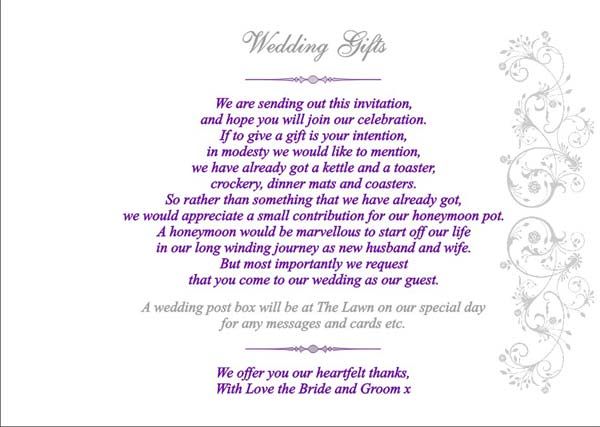 Poems For Wedding Gifts Vouchers : These are a few images of the Wedding Gifts page inside your booklet ...