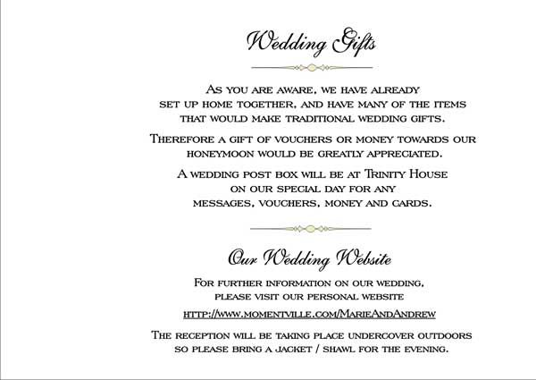 Wording For No Wedding Gifts But Money : These are a few images of the Wedding Gifts page inside your booklet ...