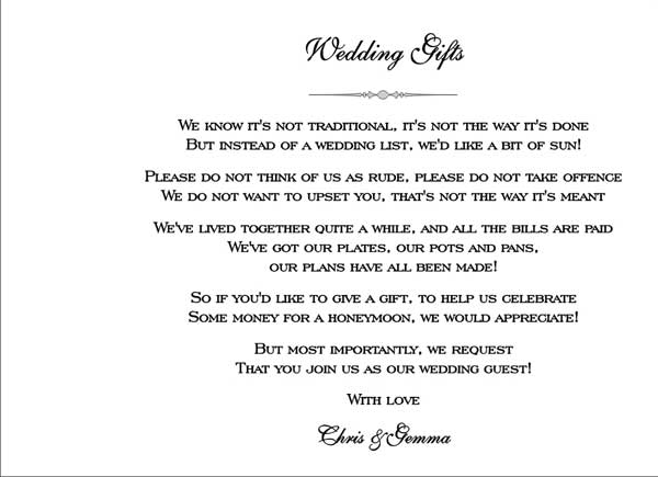 These are a few images of the Wedding Gifts page inside your booklet ...