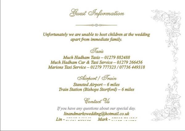 Brambles wedding stationery booklet pages guest information page stopboris Images