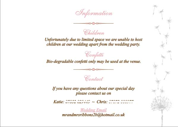 Brambles wedding stationery booklet pages guest information page due to limited space we are unable to invite children to our wedding stopboris Choice Image
