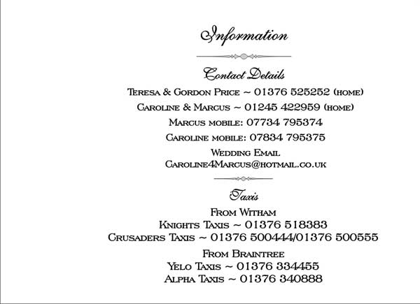 Brambles wedding stationery booklet pages guest information page due to limited space we are unable to invite children to our wedding stopboris Images