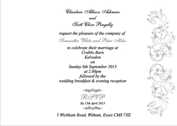 Brambles Wedding Stationery Booklet Pages Invitation Page