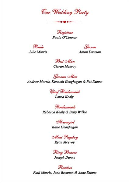 Brambles Wedding Stationery - Order Of Service - Pages- Civil Ceremony