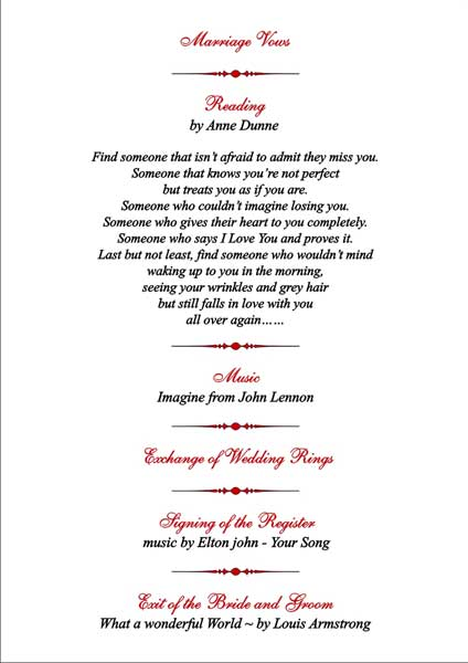 Brambles wedding stationery order of service pages civil ceremony 5 music for the exit of the bride and groom junglespirit Gallery
