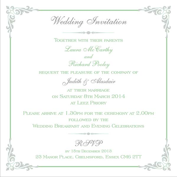 Brambles wedding stationery printed names for Wedding invitations writing names