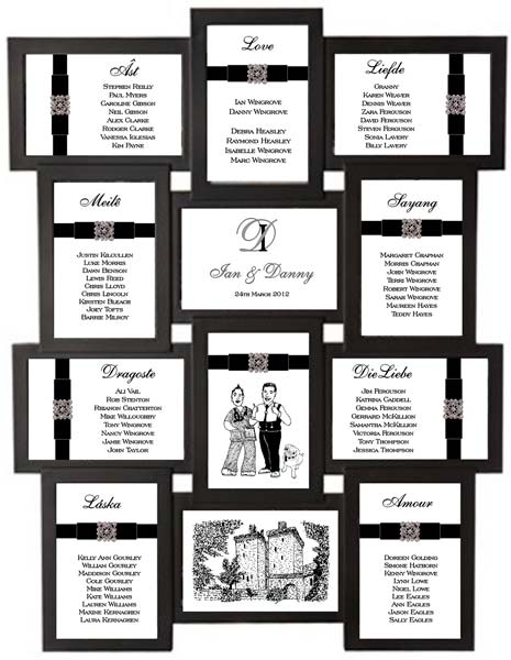 Brambles Wedding Stationery - Table Plan ~ Aperture Frame