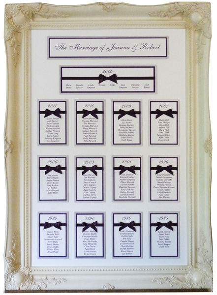 Brambles Wedding Stationery - Table Plans Framed Designs