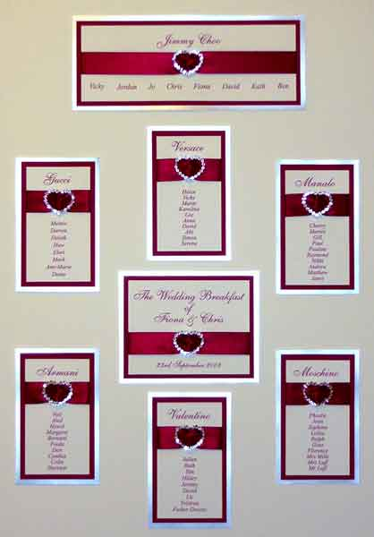 Brambles Wedding Stationery - Table Plans Buckle Designs