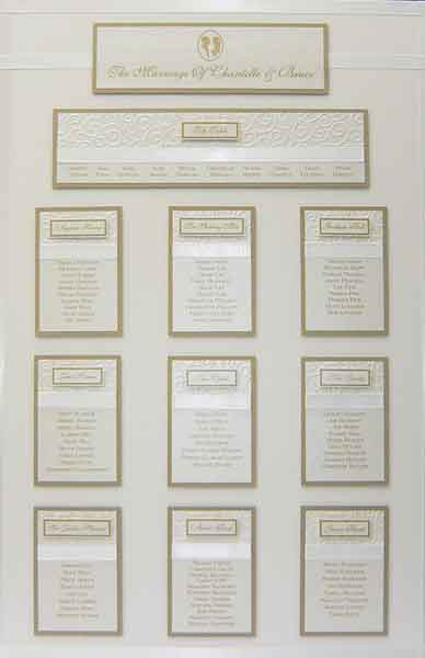 brambles wedding stationery table plans embossed designs