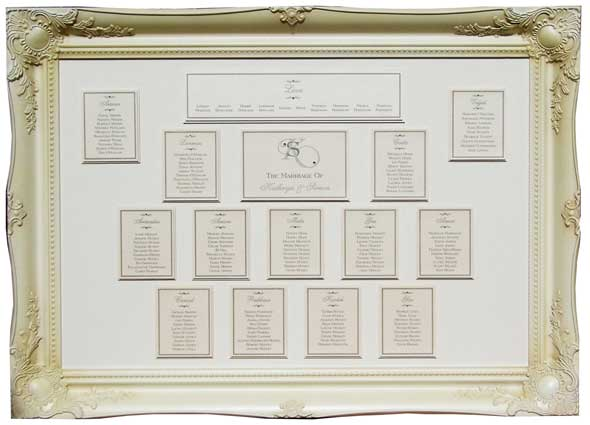 brambles wedding stationery table plan ornate frame