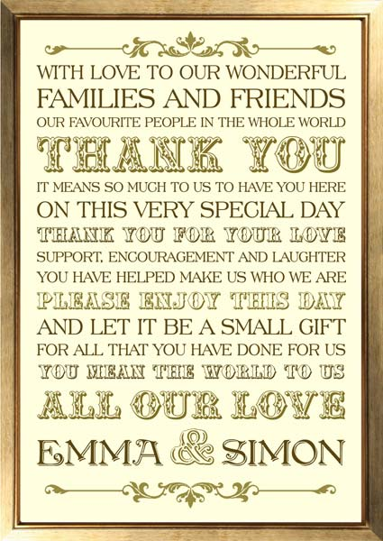 brambles wedding stationery thank you posters signs